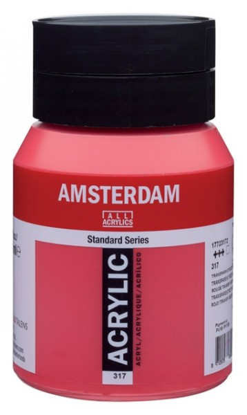 Amsterdam Acryl 500ml 317 Transparant Rood Middel