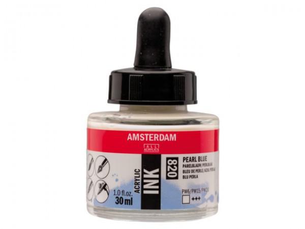 Pearl blue 820 Amsterdam Acryl Inkt 30 ml Inkt Kroontjespen
