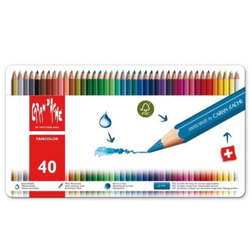Fancolor potloden metalen doos 40 kleuren set Caran D'Ache