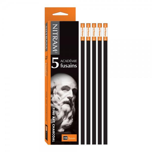 Fine Art Charcoal (Houtskool) HB vierkant 5mm Nitram