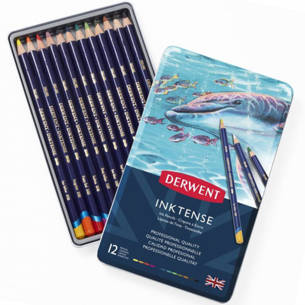 Inktense Aquarel potloden set 12 stuks Derwent