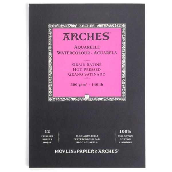 Glad Satijn 300 gr 21x29,7 (12 vel) Blok A4 1 zijde gelijmd Aquarelpapier Arches Satine