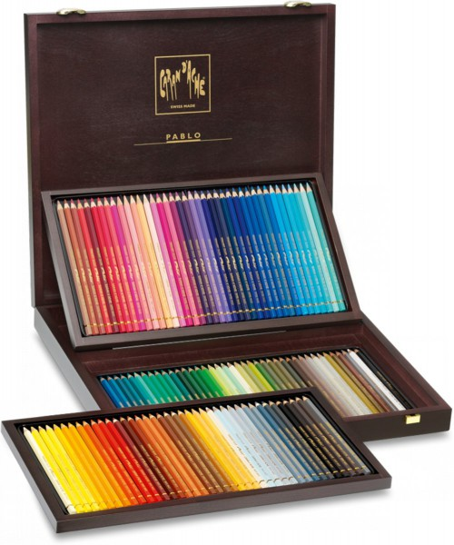 Pablo houten koffer 120 kleuren set Caran D'Ache