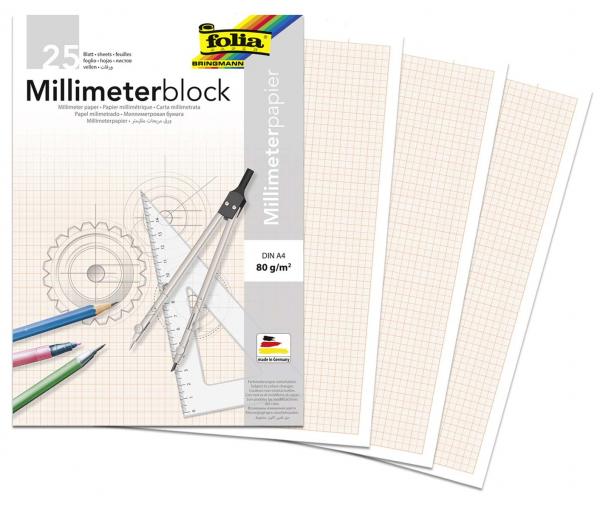 Millimeter papier Folia A4 80g