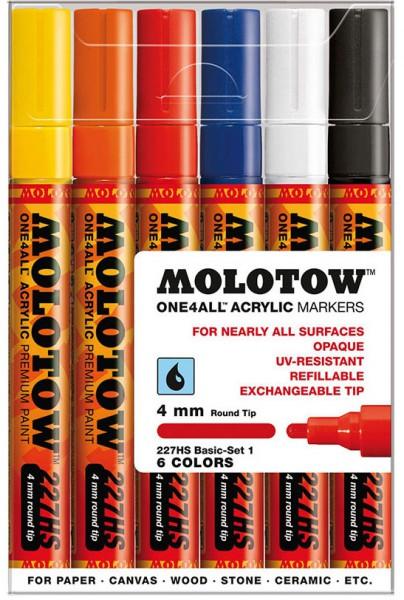 227HS Basic Set 1 - 4mm (6x) Molotow One4All Acryl Marker
