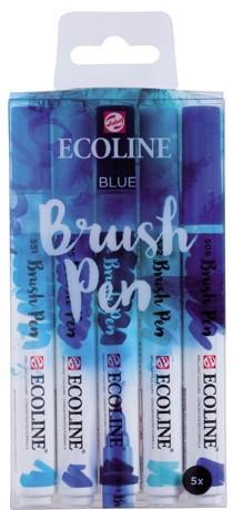 """Ecoline brushpen set 5 """"Blue"""" Aquarelmarker"""
