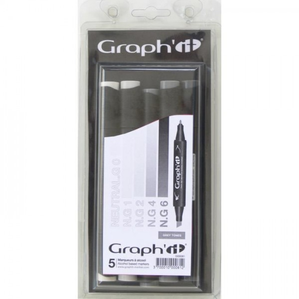 Graph-it marker set 5 Grijs Alcohol Marker