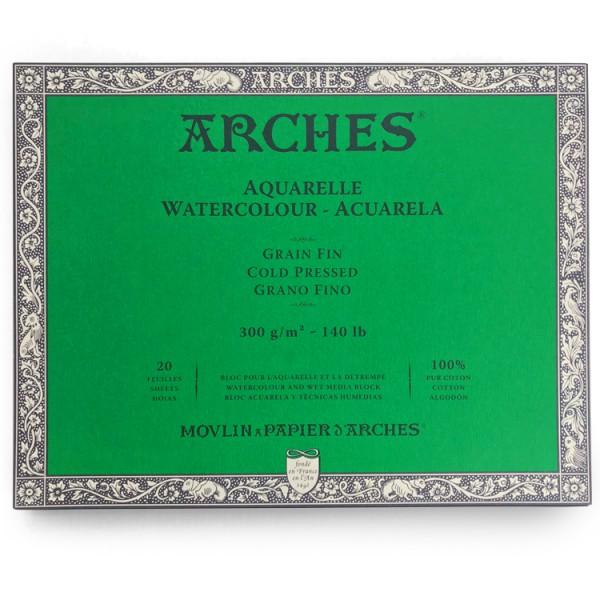 Fijn 300 gr 20x26 Blok 4 zijdig verlijmd Aquarelpapier Arches