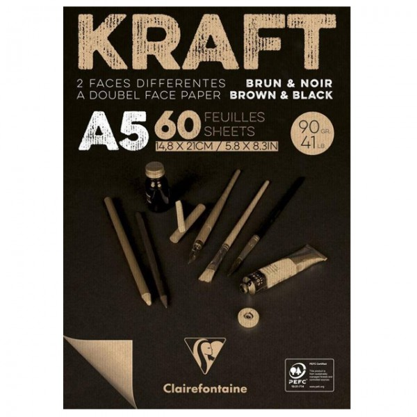 KRAFT zwart papier A5 60vel 90gr Clairefontaine