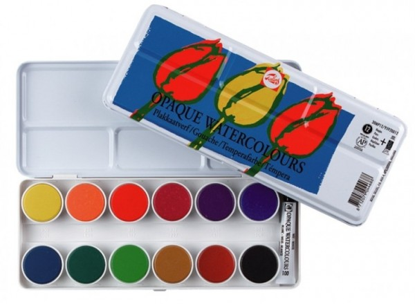 Plakkaatverf Talens set 12 kleuren dekkend