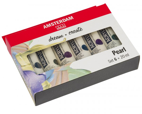 Amsterdam Acrylverf Set 6 x 20 ml parelmoer