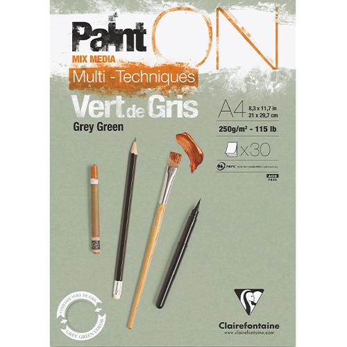Paint-On A4 30 vel Grijs Groen papier 250gr Clairefontaine
