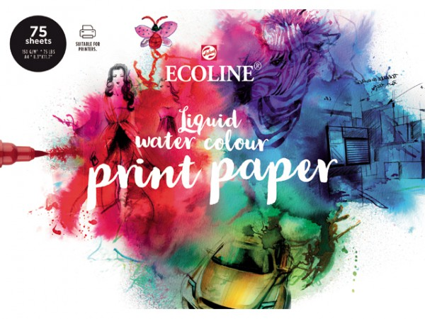 Ecoline Liquid Water Colour pak 75 vel A4 Print Papier