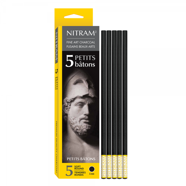 Fine Art Charcoal (Houtskool) rond 6mm Nitram