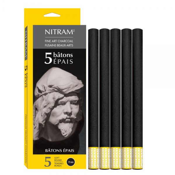 Fine Art Charcoal(Houtskool) rond 12mm Nitram