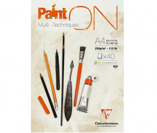 Paint-On A4 40 vel Wit papier 250gr Clairefontaine