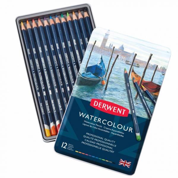 Watercolour potloden set blik 12 stuks Derwent