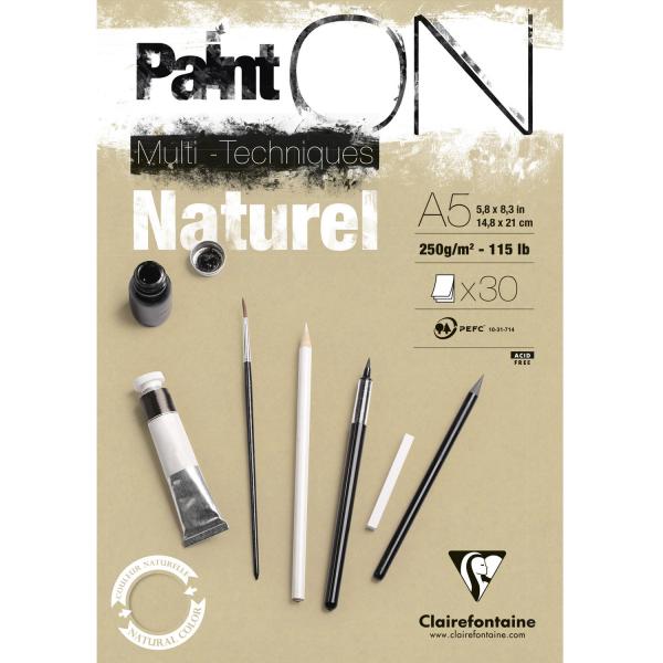 Paint-On A5 30 vel Bruin Naturel papier 250gr Clairefontaine