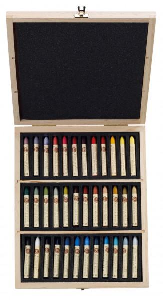 """Oliepastels set 36 pastels """"Plein Air"""" houten koffer"""