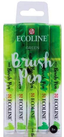 "Ecoline brushpen set 5 ""Green"" Aquarelmarker"