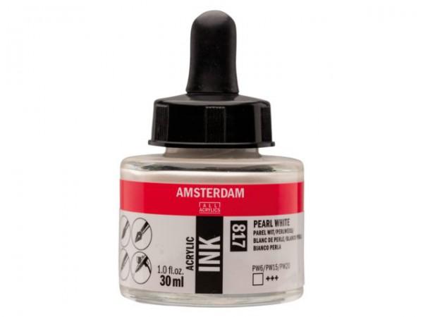 Pearl white 817 Amsterdam Acryl Inkt 30 ml. Inkt Kroontjespen