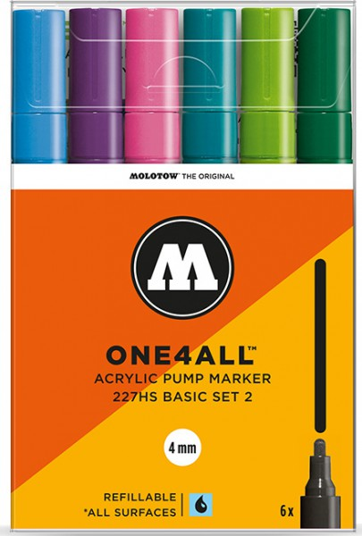 227HS Basic Set 2 - mm (6x) Molotow One4All Acryl Marker