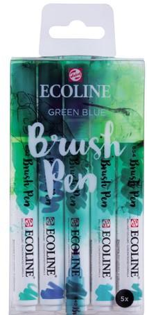 "Ecoline brushpen set 5 ""Green Blue"" Aquarelmarker"