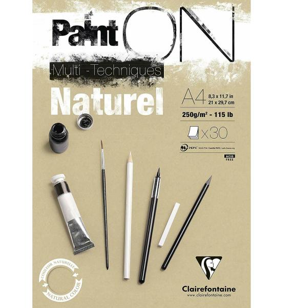 Paint-On A4 30 vel Bruin Naturel papier 250gr Clairefontaine