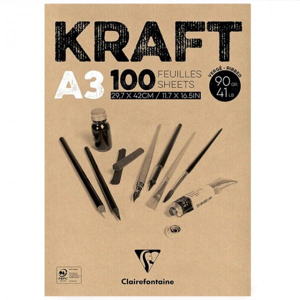 KRAFT bruin papier A3 100vel 90gr Clairefontaine