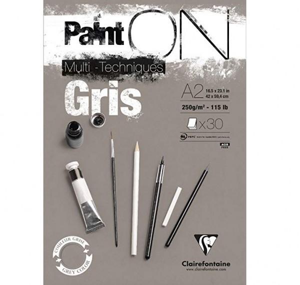 Paint-On A2 30 vel Grijs papier 250gr Clairefontaine