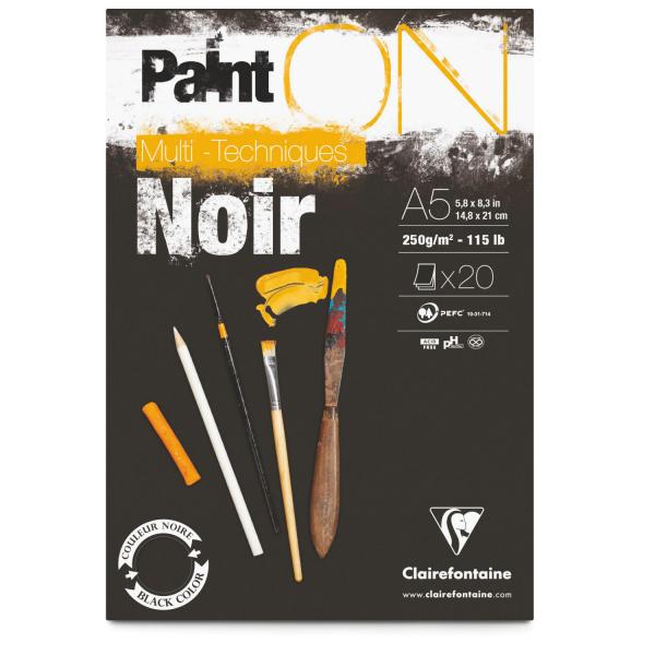 Paint-On A5 20 vel Zwart papier 250gr Clairefontaine