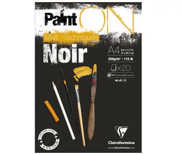 Paint-On A4 20 vel Zwart papier 250gr Clairefontaine