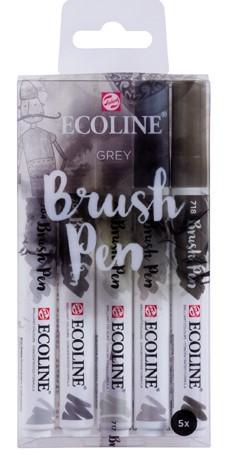 """Ecoline brushpen set 5 """"Grey"""" Aquarelmarker"""