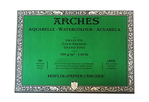 Aquarelpapier Grain Fin 300 gr 20x26 Arches Blok