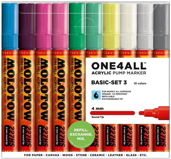 227HS Basic Set 3 - 4mm (x10) Molotow One4All Acryl Marker