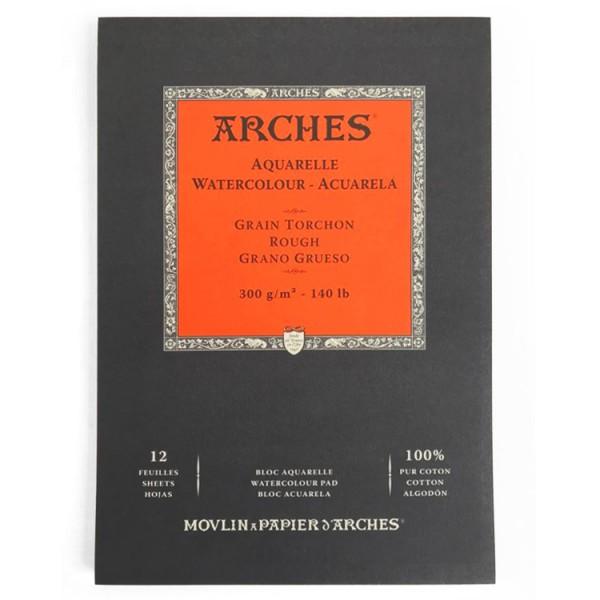 Grof 300 gr 21x29,7 (12 vel) Blok A4 1 zijde gelijmd Aquarelpapier Arches