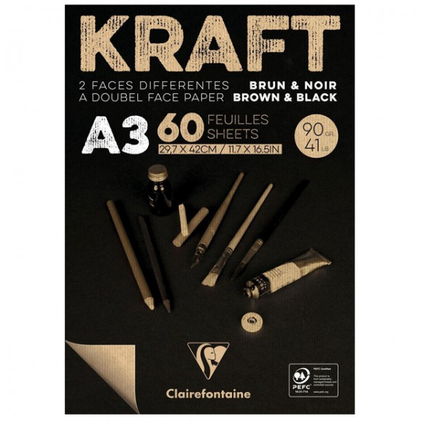 KRAFT zwart papier A3 60vel 90gr Clairefontaine
