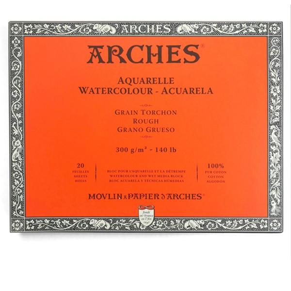 Grof 300 gr 20x26 Blok 4 zijdig verlijmd Aquarelpapier Arches