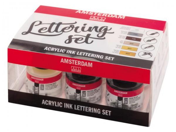 Lettering set 6x30 ml Amsterdam Acryl Inkt Inkt Kroontjespen