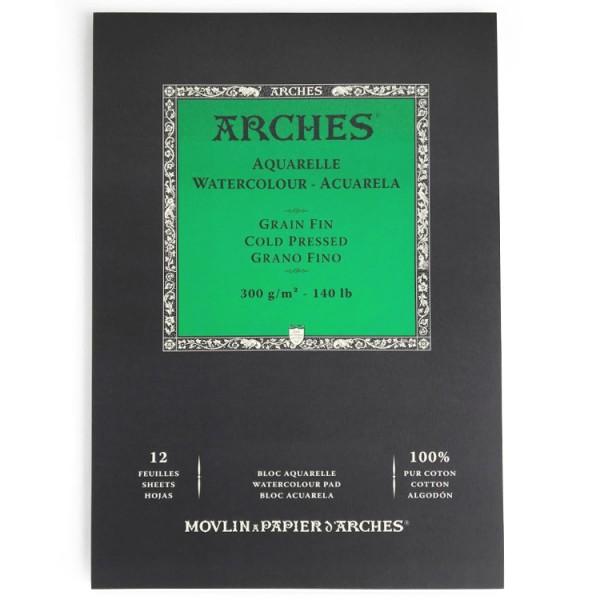 Fijn 300 gr 14,8 x 21 (12 vel) Blok A51 zijde gelijmd Aquarelpapier Arches