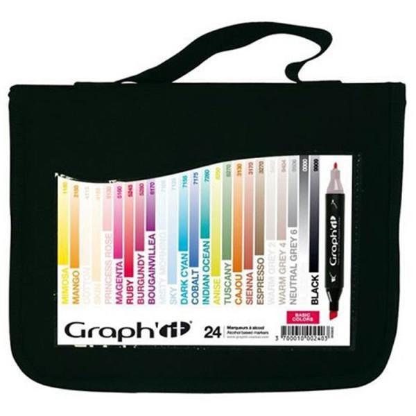 Graph-It marker 24 set met etui Alcohol Marker