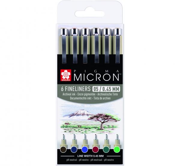 Pigma Micron 6 set 05 gekleurde Fineliners Aarde Kleuren
