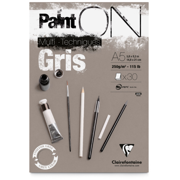 Paint-On A5 30 vel Grijs papier 250gr Clairefontaine