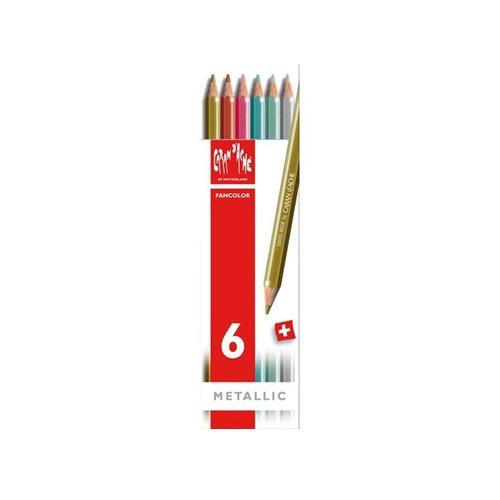 Fancolor potloden kartonnen doos, 6 kleuren metalic set Caran D'Ache