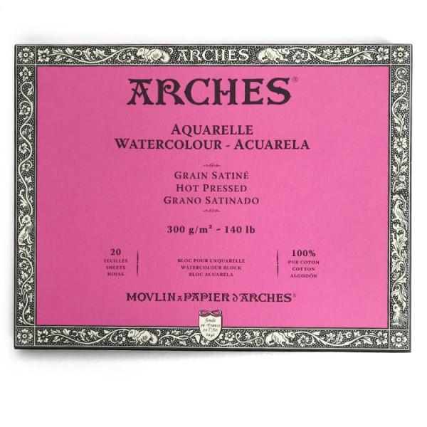 Glad Satijn 300 gr 36x51 Blok 4 zijdig verlijmd Aquarelpapier Arches Satine