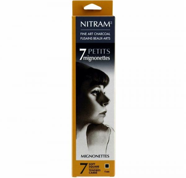 Fine Art Charcoal(Houtskool) vierkant Mignonettes 4mm Nitram