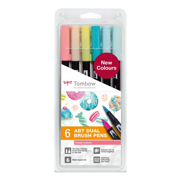 Tombow Dual Brush Set 6 Candy colours