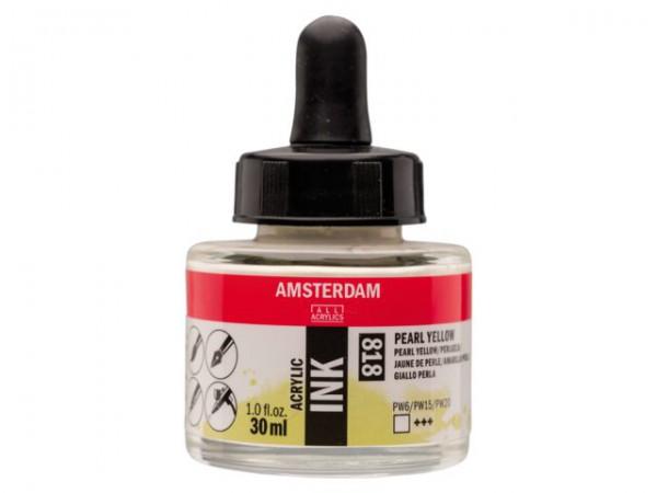 Pearl yellow 818 Amsterdam Acryl Inkt 30 ml. Inkt Kroontjespen