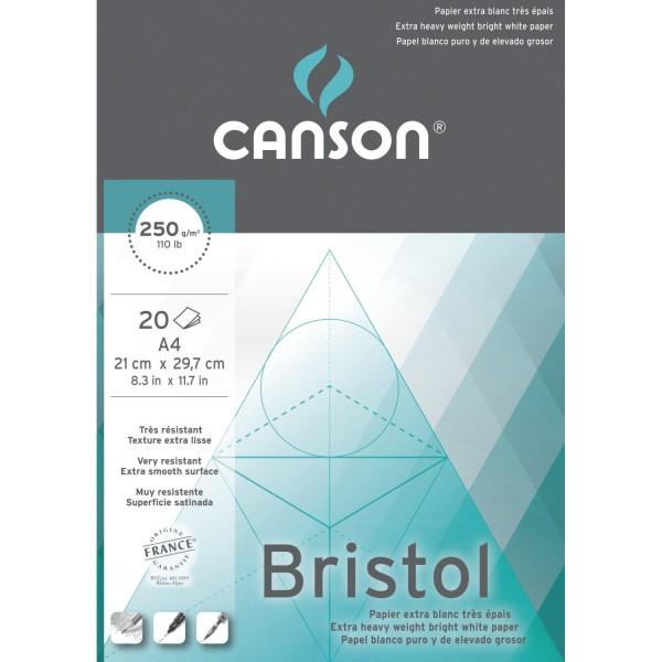 Bristol papier blok A4 20 vel wit, glad en dik (250 gr)