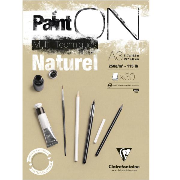 Paint-On A3 30 vel Bruin Naturel papier 250gr Clairefontaine
